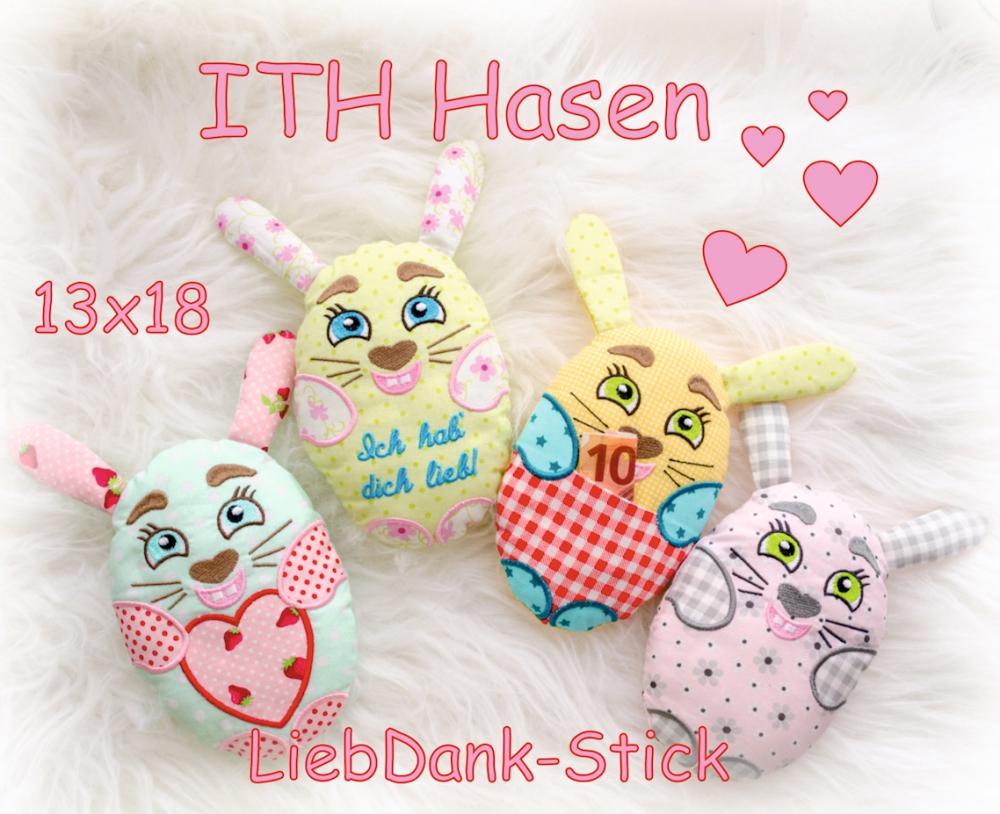 ITH Hasen 13x18 (4 Hasen), Stickdatei, Ostern