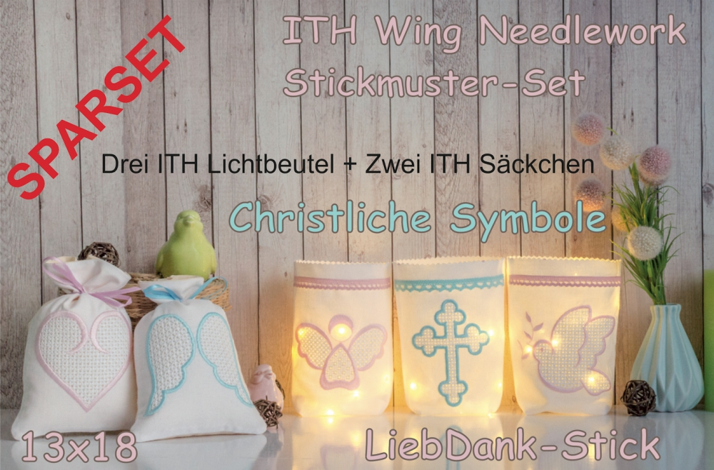 SPARSET ITH Wing Needlework Lichtbeutel + Säckchen Christliche Symbole 13x18