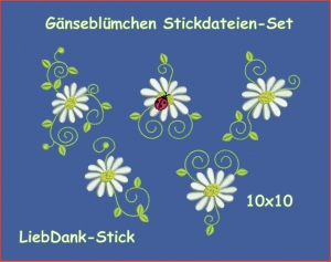 -Gnseblmchen-Stickmuster-Set-10x10--5-Motive