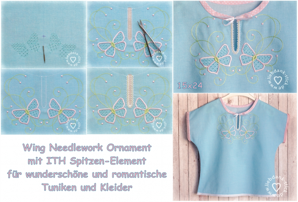 Bild 1 von Stickdatei Wing Needlework Schmetterlinge-Ornament mit ITH Spitzen-Element 15x24