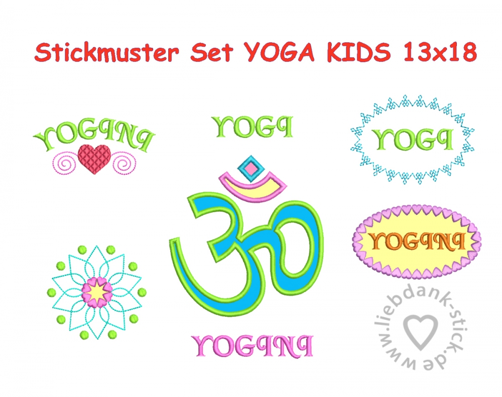 Bild 1 von Stickdatei Yoga Kids 13x18 (7 Stickmuster), Applikation