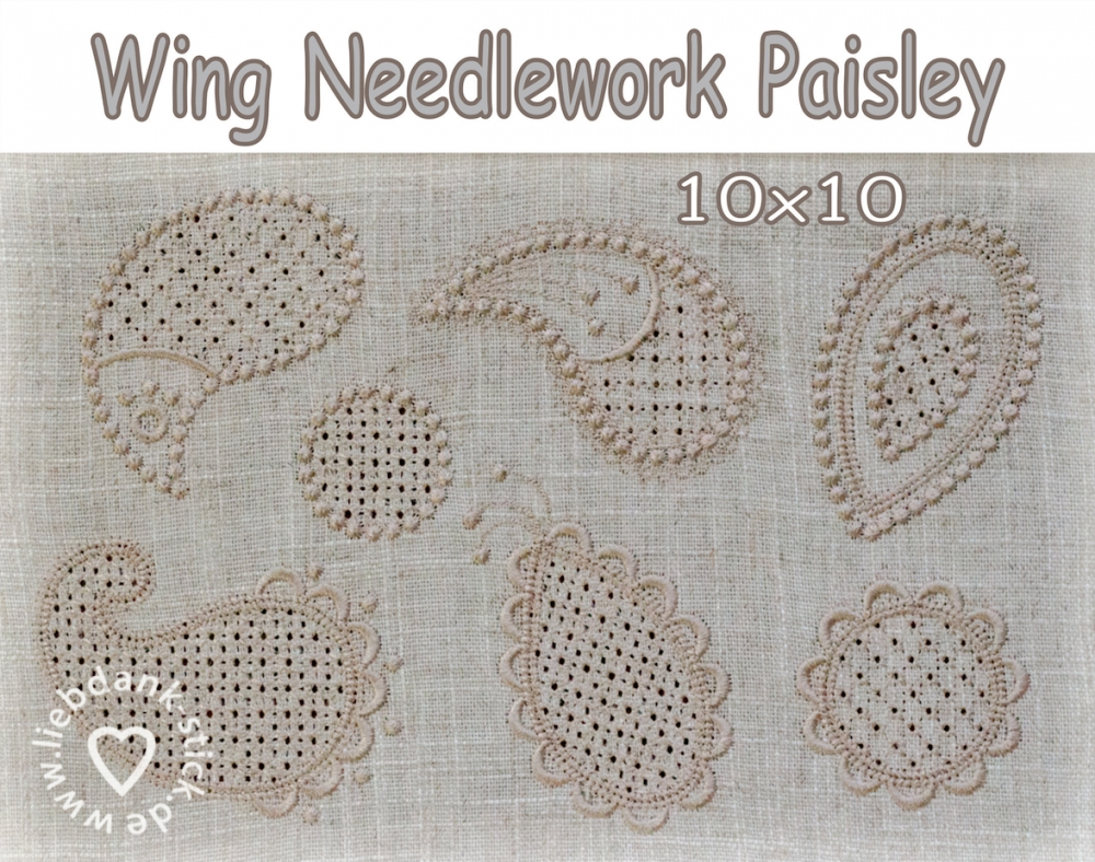 Bild 1 von Stickdateien (Set) Paisley Wing Needlework 10x10 (7 Motive)
