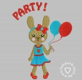 Stickdatei Party Hase 13x18