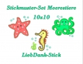 Stickdateien-Set Meerestiere 10x10 Applikation