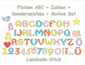 Stickdatei Flicken ABC, Zahlen, Motive 10x10 Applikation