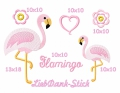 Stickdatei Flamingo Stickmuster-Set 10x10 + 13x18